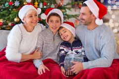 Smiling family at Christmas. Time at home Royalty Free Stock Photo