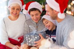 Smiling family at Christmas. Time at home Stock Images