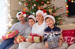Smiling family at Christmas. Time at home Stock Image