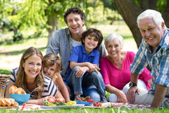 Smiling family having a picnic Stock Photo