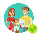 Smiling Family Holding Insurance Contract, Insurance Company Services Infographic Illustration. Vector Icon With Type Of Insurance Helping People To Protect stock illustration