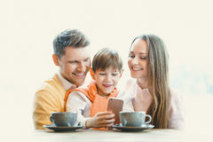 Smiling family indoors Royalty Free Stock Photos