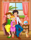 A smiling family inside the house Royalty Free Stock Photos