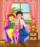A smiling family inside the house. Illustration of a smiling family inside the house Stock Photography