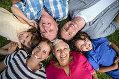 Smiling family lying in the grass Stock Photos