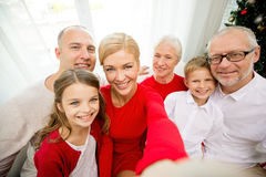 Smiling family making selfie at home Royalty Free Stock Image