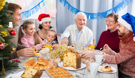 Smiling family members making conversation. During Christmas dinner Stock Images