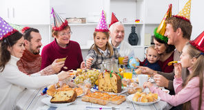 Smiling family members saying toasts. In turn during Christmas dinner Stock Photo