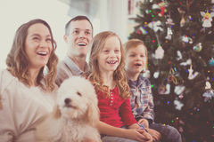 Smiling family members spending Christmas time. Together at home Royalty Free Stock Photography