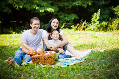 Smiling family on picnic Stock Photos