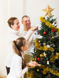 Smiling family preparing for Christmas Royalty Free Stock Photos