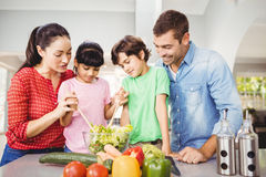 Smiling family preparing salad Royalty Free Stock Images