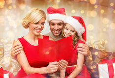 Smiling family reading postcard Royalty Free Stock Photography