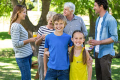 Smiling family standing Royalty Free Stock Images