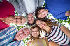 Smiling family with their heads in a circle Stock Photo