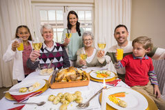 Smiling family toasting to camera during christmas dinner Stock Photo