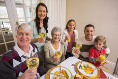 Smiling family toasting to camera during christmas dinner Stock Images