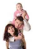Smiling family on white Royalty Free Stock Photos