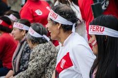 Lima, Peru - OCTOBER 10th 2017: Fanaticism in Peru Peru vs Colombia Russia 2018 Stock Images