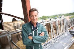 Smiling farmer in barn Stock Photos