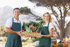 Smiling farmer couple holding a vegetable basket Royalty Free Stock Photos