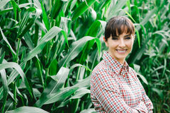 Smiling farmer posing in the corn field Royalty Free Stock Image