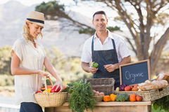 Smiling farmer selling red and green peppers Royalty Free Stock Images