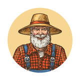 Smiling farmer in straw hat. Gardener or beekeeper vector illustration Royalty Free Stock Image
