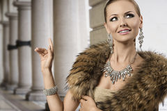 Smiling fashion aristocratic girl stock images