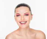 Smiling Fashion creative make-up Stock Images