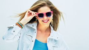 Smiling fashion model in funky style. Stock Photos