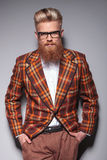 Smiling Fashion Model With Long Beard Royalty Free Stock Images
