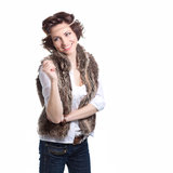 Smiling fashion woman in autumn apparel. On white background Royalty Free Stock Images