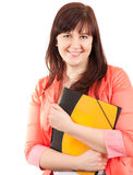 Smiling fat student woman with book, Stock Images