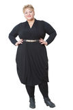 Smiling fat woman in black dress Stock Photography