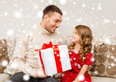 Smiling father and daughter looking at each other Royalty Free Stock Photography