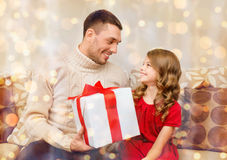 Smiling father and daughter looking at each other Royalty Free Stock Image