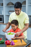 Smiling father preparing salad with his son Royalty Free Stock Image
