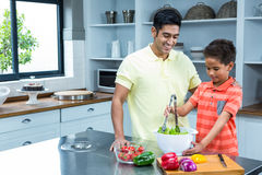 Smiling father preparing salad with his son Stock Photography