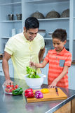 Smiling father preparing salad with his son Royalty Free Stock Photo
