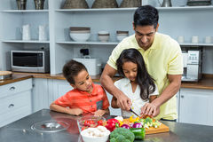 Smiling father slicing vegetables with his children Stock Photo