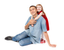 Smiling father and young daughter Stock Photos
