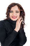 Smiling female. Beautiful black dressed female isolated on white Royalty Free Stock Photography