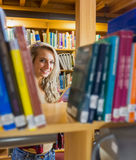 Smiling female amid bookshelves in the library Stock Images