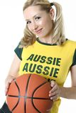 Smiling female with a ball Royalty Free Stock Photos