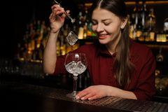 Smiling female barman putting ice cubes into a glass making an A. Smiling female barman putting ice cubes into a glass making a fresh and tasty Aperol syringe Royalty Free Stock Photos