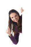 Smiling female with big blank sign (isolated) (thu Stock Photography
