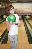 Smiling female bowling player Stock Image