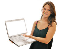 Smiling Female Brunette with Computer Isolated Royalty Free Stock Image
