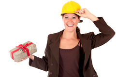 Smiling female building contractor Royalty Free Stock Photos